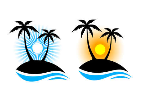 Island with palm trees on white background   Vector