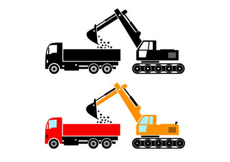 Truck and excavator on white background Vector
