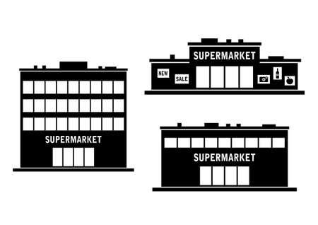 白い背景の上のスーパー マーケットのアイコン