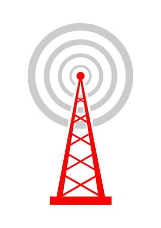 radio mast: Transmitter icon on white background