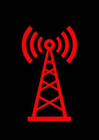 Red transmitter icon on black background  Vector