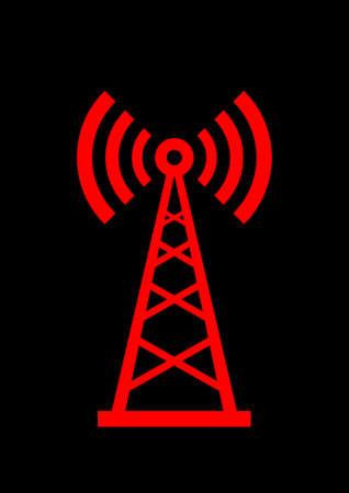 radio mast:   Red transmitter icon on black background