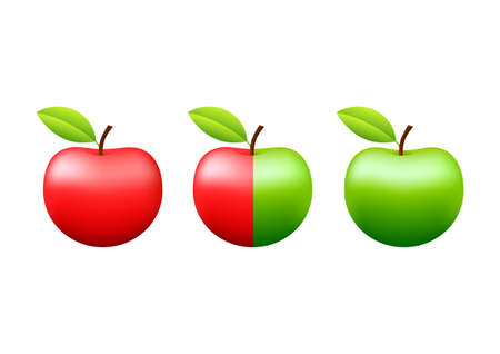 ripened: Apples on white background Illustration