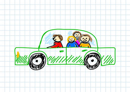 family holiday: Car drawing on squared paper Illustration