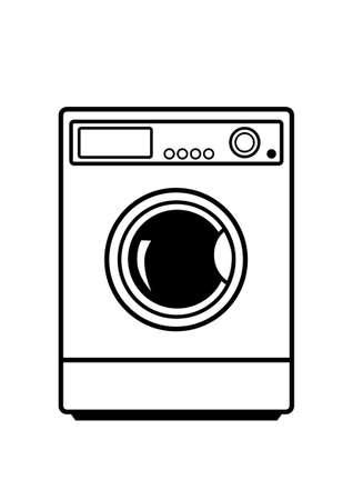 Washing machine on white background