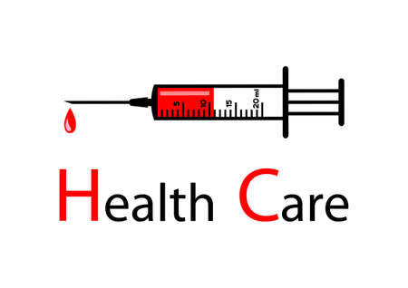 hypodermic needle: Medical syringe on white background   Illustration