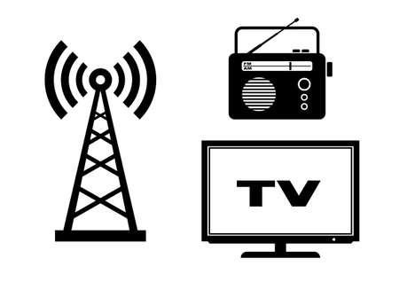 radio mast: Audio and TV icons on white background