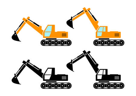 excavator: Excavator icons   Illustration
