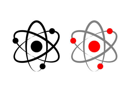 fission: Atom icons on white background