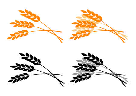 barley: Agricultural icons on white background