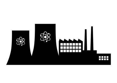 Elektrownia atomowa na białym tle
