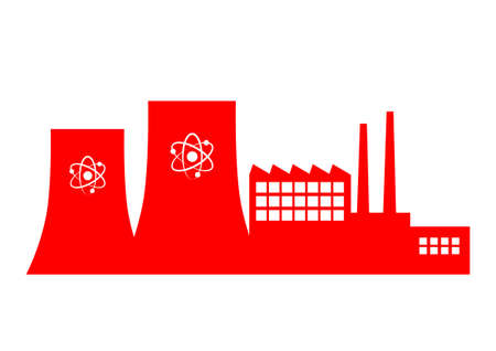 Nuclear power station on white background    Vector