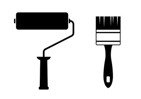 Paint roller and paintbrush on white background   Vector