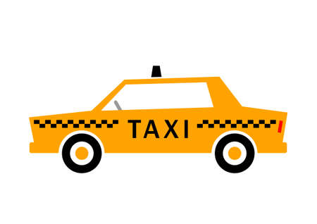 yellow taxi: Taxi car on white background   Illustration