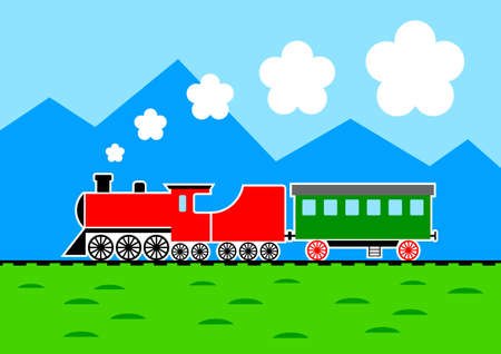 mountainous: Train in mountainous landscape