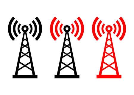 radio mast: Transmitter icons on white background  Illustration