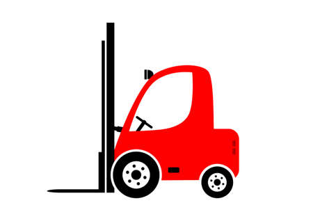 Red forklift truck on white background   Vector