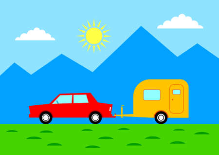 Car with caravan in mountainous landscape   Vector