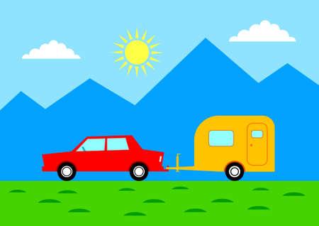 mountainous: Car with caravan in mountainous landscape