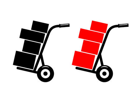 conveyance: Hand truck on white background   Illustration