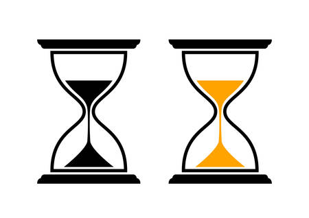 reloj de arena: Iconos del reloj de arena en el fondo blanco Vectores