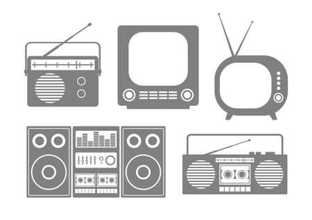 old radio: Grey audio and TV icons on white background