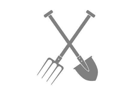Grey spade and pitchfork on white background Vector