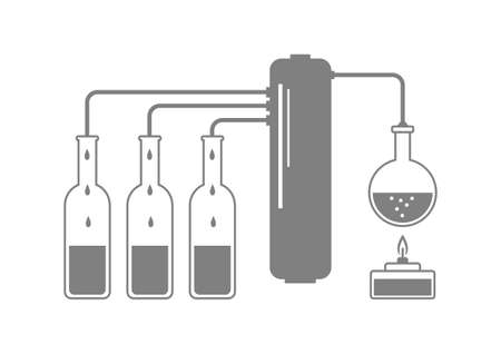 distilled: Grey distillation kit on white background