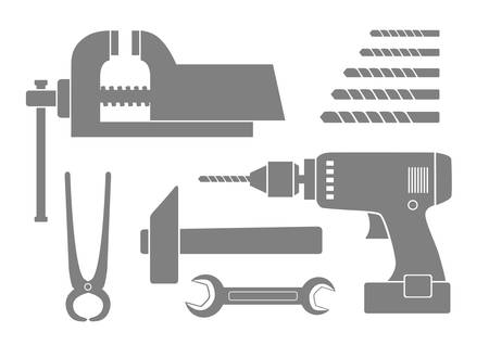 Grey tool icons on white background Vector