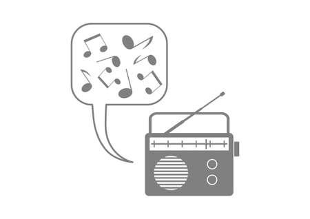 Grey radio icon on white background Vector