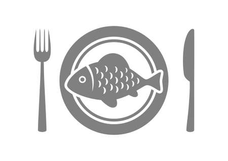 Fish on porcelain plate Vector
