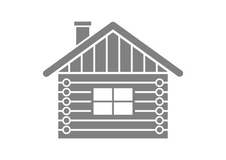 Grau Blockhaus-Symbol auf weißem Hintergrund Vektorgrafik