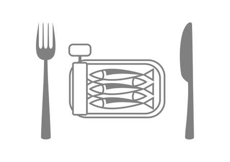 sardines: Grey sardines with cutlery on white background Illustration
