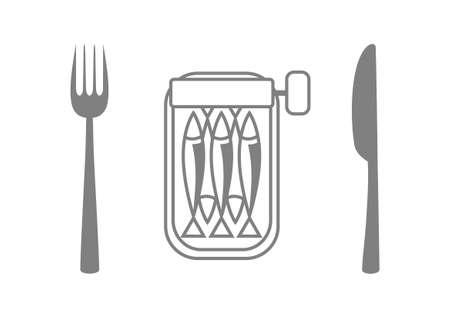 sardines: Grey sardines with cutlery on white background Illustration