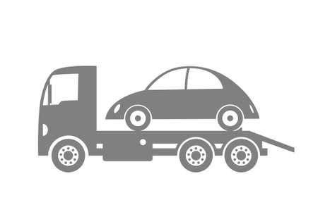 Grey tow truck and car on white background Vector