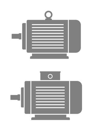 electric motor: Grey electric motor icons on white background