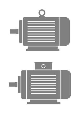 Gris icônes de moteurs électriques sur fond blanc Vecteurs