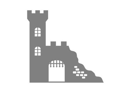 Grey castle ruins on white background Vector
