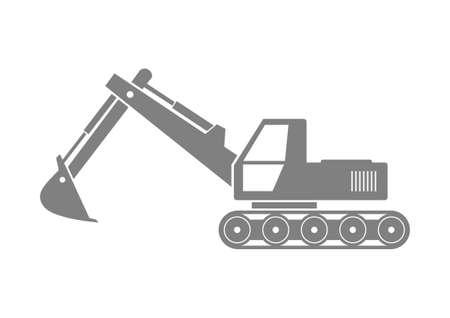 earthmover: Grey excavator icon on white background