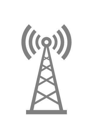 radio mast: Grey transmitter icon on white background