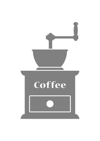 macinino caffè: Grigio macinino da caff� su sfondo bianco Vettoriali