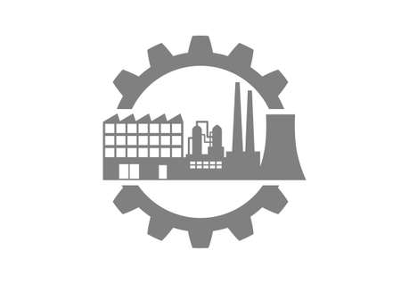 industrial icon: Grey industrial icon on white background Illustration