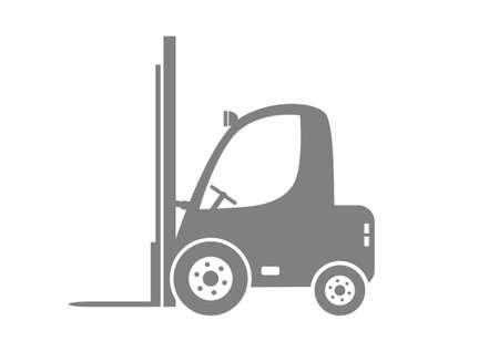 forklift truck: Grey forklift truck on white background