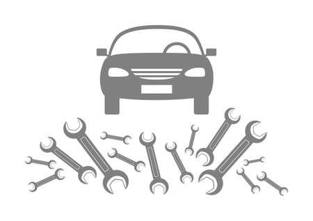 白い背景の上の灰色の車のアイコン
