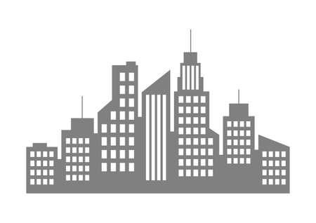 construction: Grey city icon on white background