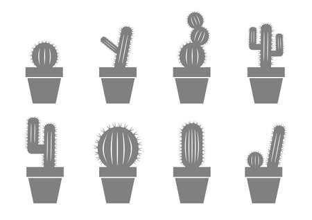 cactus flower: Grey cactus icons on white background
