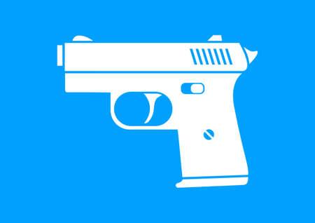 White gun icon on blue background Vector