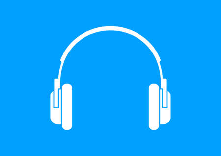 headphones icon: White headphones icon on blue background Illustration