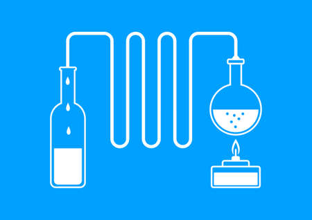 distilled: White distillation kit on blue background  Illustration