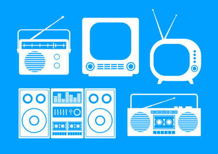 hifi: White audio and TV icons on blue background